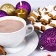 Hot chocolate and cookies - Stock Photo