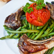 Stock Photo: Porterhouse juicy steak with fresh green beans