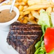 Stock Photo: Steak beef meat with tomato and french fries