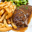 Steak beef meat with tomato and french fries — Stock Photo #6792036