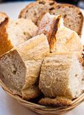 Bread in basket - little roll breads in basket — Stock Photo
