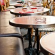 Street view of a Cafe terrace with tables and chairs,paris Franc — Stock Photo