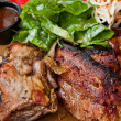 Grilled steak - Grilled meat ribs on the plate with hot sauce — Stock Photo