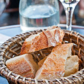 Bread in basket - little roll breads in basket on table — Stock Photo