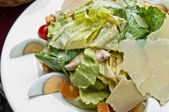 Delicious fresh salad and olive oil — Stockfoto
