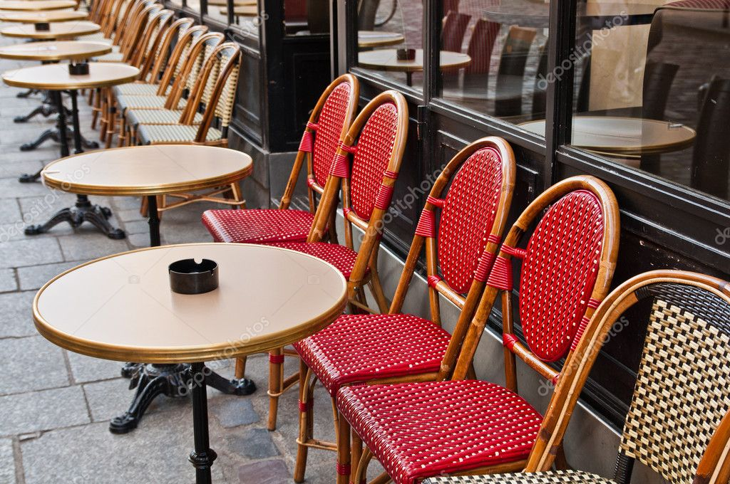 Empty Cafe terrace in paris,France  Stock Photo #7119737
