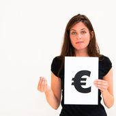 Portrait young woman with board euro mark — Stock Photo