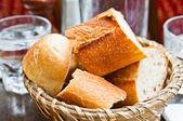 Bread in basket - little roll breads in basket on table — Stock Photo