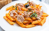 Tasty pasta with salmon — 图库照片