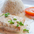 Grilled salmon and rice — Photo #7553377