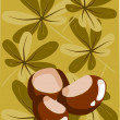 Royalty-Free Stock Vector Image: Three chestnut and autumn background - vector