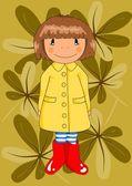 Happy girl in red wellingtons. — Stock Vector