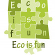 Eco is fun - green puzzle - vector — Stock Vector