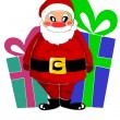 Happy santa claus and big gifts — Stock Vector