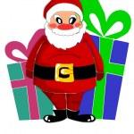 Happy santa claus and big gifts — Stock Vector #7378593