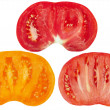 Three color cut tomatoes — Stock Photo #7447595