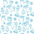 Vecteur: Seamless background with christmass items