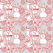 Seamless background with christmass items — Stockvektor