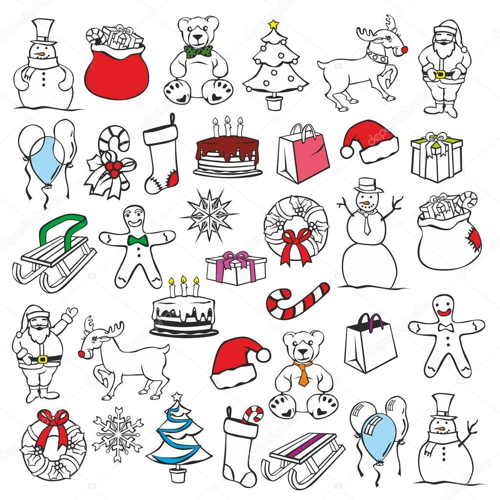 Fully editable vector illustration of christmass items — Векторная иллюстрация #7805788