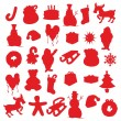 Isolated Christmas items silhouettes — Imagen vectorial