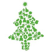 Christmas tree made by items silhouettes — Stock Vector