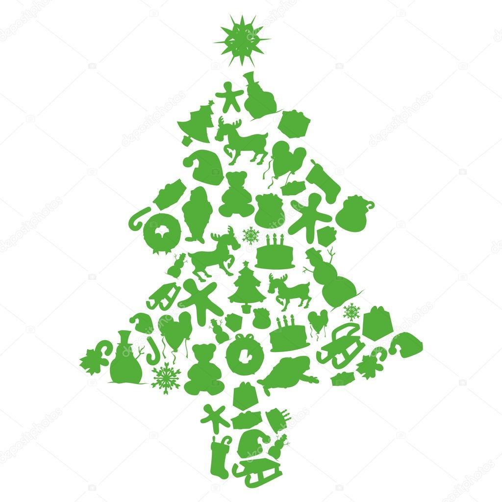 Christmas tree made by items silhouettes stock vector for Christmas tree items list