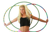 Woman with hula hoops — Stock Photo
