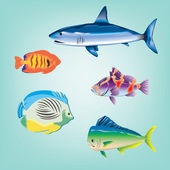 Various cartoon fishes collection — Stock Photo
