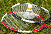 Badminton rackets and shuttlecock — Stock Photo