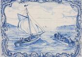 Portuguese mosaic azulejo - sea with boats — Stock Photo