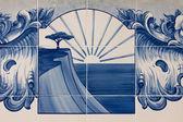 Portuguese mosaic azulejo - sea with cliffs — Stock Photo