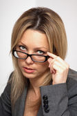 Business woman wearing glasses — Stok fotoğraf