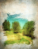 グランジ春の風景、ビンテージ背景 — ストック写真