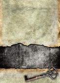 Projekt rozdarty powierzchni z antykami klucz — Zdjęcie stockowe
