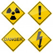 Danger signs set — Stock Photo