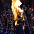 Fireplace close up - Stock Photo