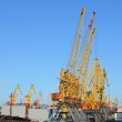 Port cranes against blue sky - Stock Photo