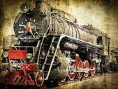 Grunge steam locomotive — Stock Photo