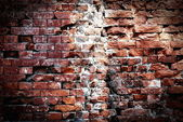 Destroyed brick wall — Stock Photo