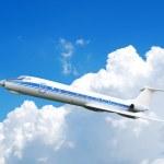 Flying jet airplane — Stock Photo