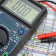 Stock Photo: Technology background, digital multimeter