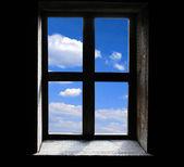 Window on black background — Stock Photo