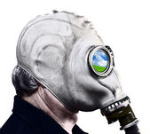 Man in gas mask — Foto Stock