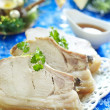 Christmas roast pork in ginger glaze with citrus sauce - Lizenzfreies Foto