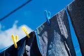 Промывают джинсы сушки вне — Стоковое фото