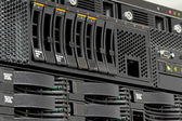 Servers stack with hard drives in a datacenter — Stock Photo