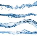 set di acqua schizzi isolato su sfondo bianco — Foto Stock