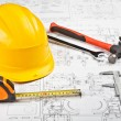 Construction drafts and tools background — Stock Photo #7959860
