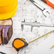 Construction drafts and tools background — Stock Photo #7959898