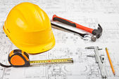 Construction drafts and tools background — Stock Photo